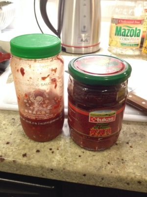 Left: Chili garlic sauce. Right: Turkish red pepper paste