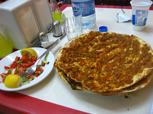 Lahmacun as served in Turkey.